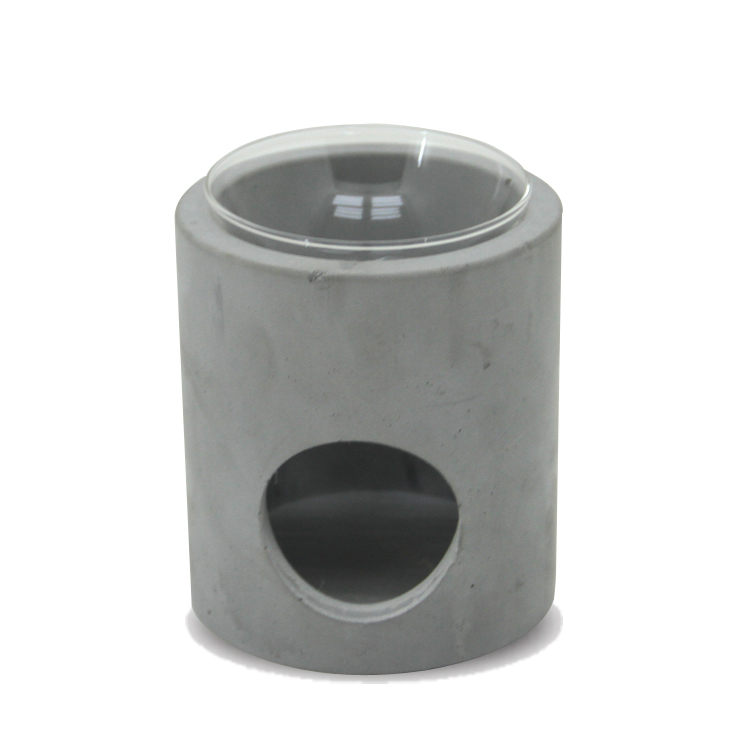 Cement oil burner with clear glass oil bowl