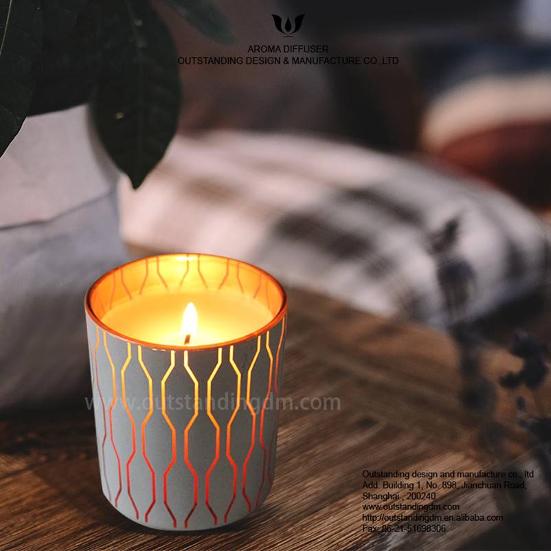 Chic White Pattern Glass Candle ciavuro fannu LED