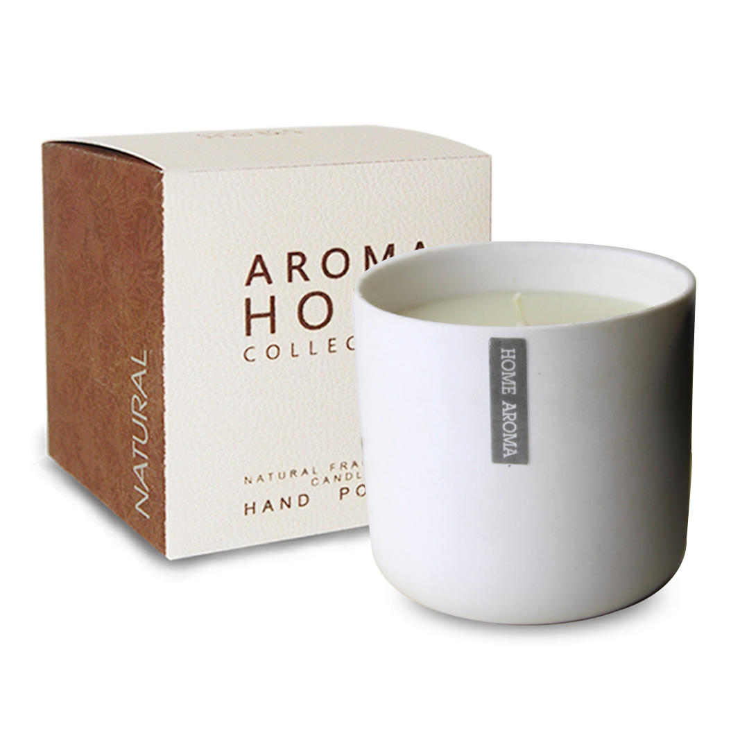 Classic White Ceramic Scented Candle with printed logo