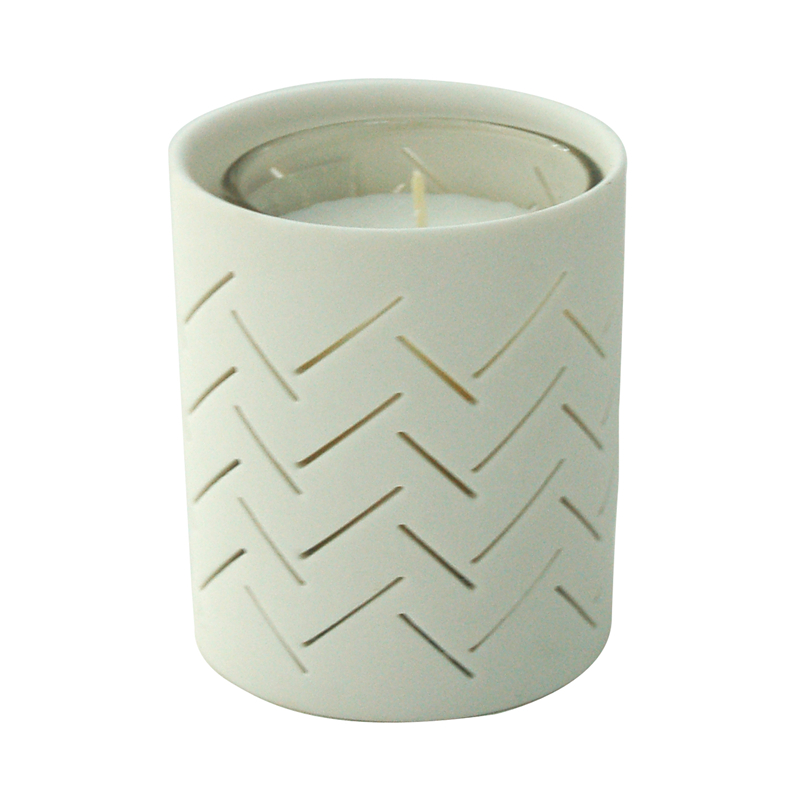 decorative Ceramica candle holder with wax
