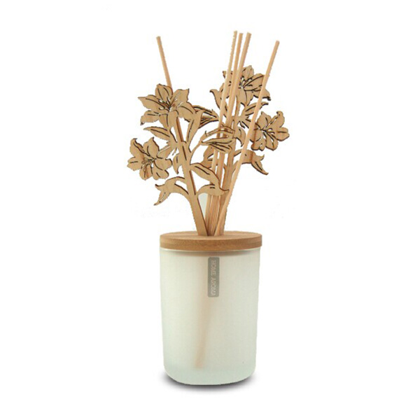 Elegant Frosted Glass Wooden Lily Diffuser