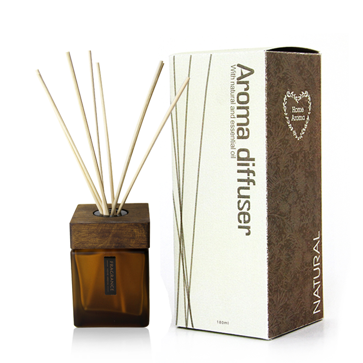 Elegantne White Square Glass Bottle Wooden Diffuser
