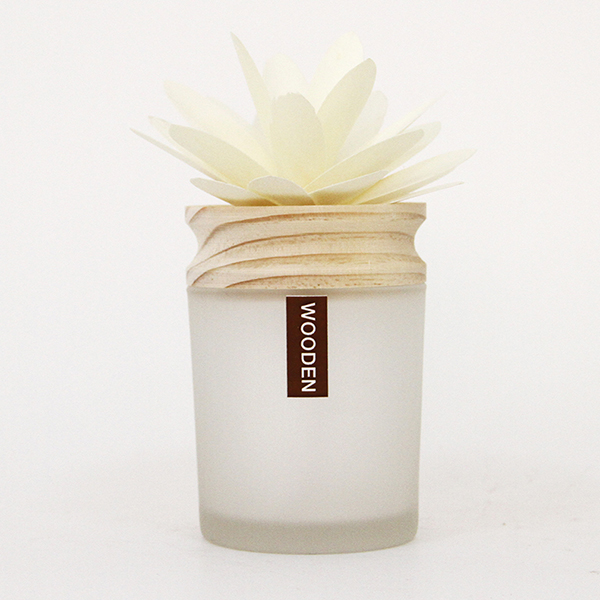 Elegant Wooden Flower Diffuser Frosted Glass Bottle