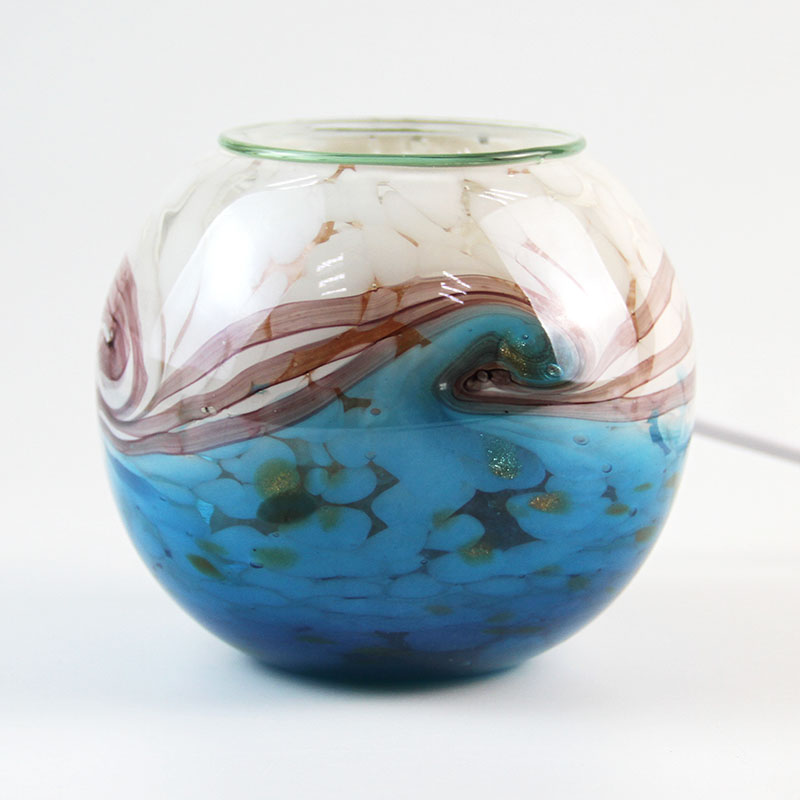 Glass with art finished electrical oil burner