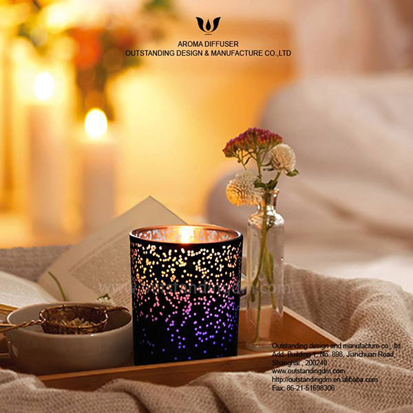 Candle Black LED Glass ciavuro fannu Luxe