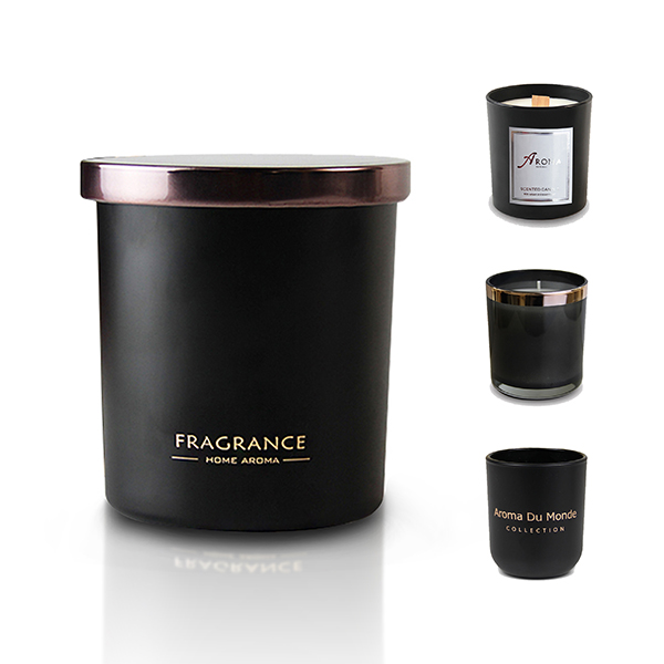 Luxury Scented Black Candle Scented мом менен Жар